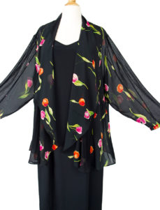 Plus Size Drape Jacket Hot Tulips Silk Pink Black 30/32