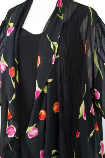 Plus Size Drape Jacket Hot Tulips Silk Pink Black 30/32