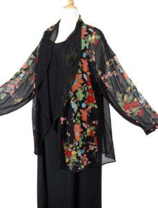 Plus Size Dressy Drape Jacket Artwear Brights Black Florals 26/28