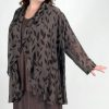 Plus Size Dressy Drape Jacket Silk Leaves Taupe Brown 22 - 28