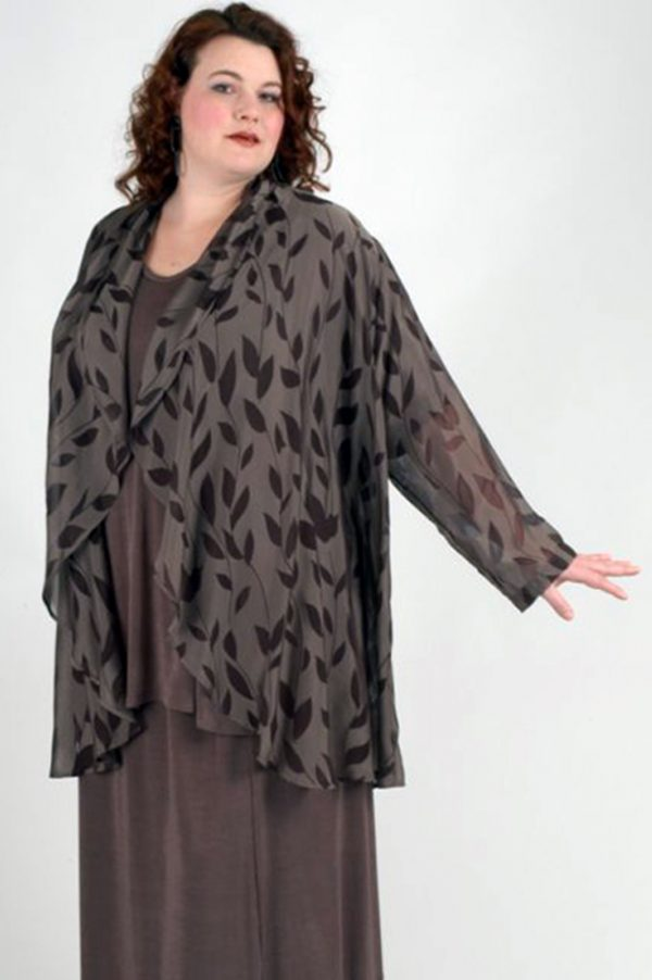Plus Size Dressy Drape Jacket Silk Leaves Taupe Brown 22 – 28