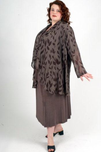 Plus Size Dressy Drape Jacket Silk Leaves Taupe Brown 22 – 28