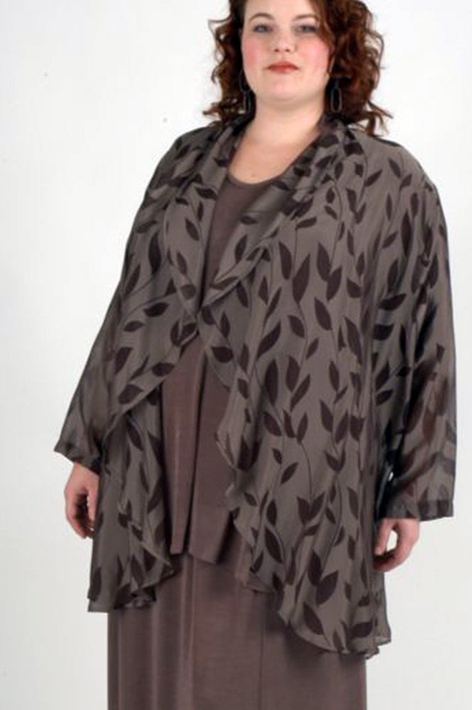 Plus Size Mother of Bride Drape Jacket Fall Wedding Taupe Brown Silk Leaves Sizes 1416 2628