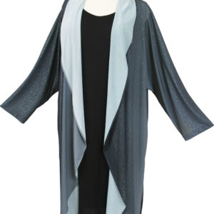 Plus Size Drape Coat Grey Silver Blue Ombre Sparkle 14-36