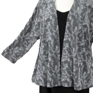 Plus Size Dressy Jacket Silver Black Floral Slinky 30/32