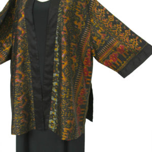 Plus Size Formal Kimono Jacket Silk Ikat Gold Black Burgundy 30/32