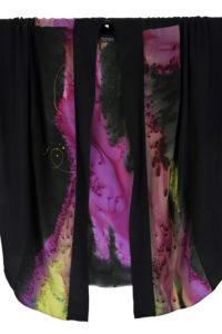 Plus Size Dressy Kimono Jacket Purple, Chartreuse Silk Crepe