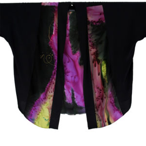 Plus Size Dressy Kimono Jacket Artwear Purple Chartreuse Black Silk 26-36