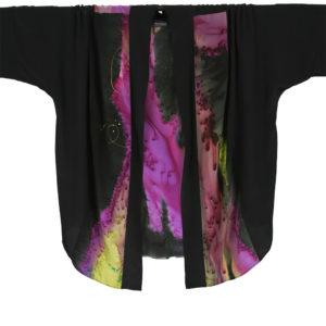 Plus Size Special Occasion Kimono Jacket Purple Chartreuse Silk Size 26 – 36
