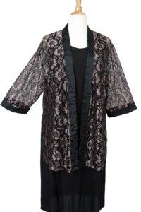 Plus Size Dressy Kimono Jacket Metallic Lace Pink Black