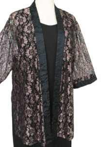 Plus Size Dressy Kimono Jacket Metallic Lace Pink Black