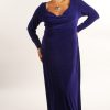 Plus Size Empire Evening Gown Purple Slinky Sizes 14 - 24
