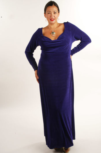 Plus Size Empire Evening Gown Purple Slinky Sizes 14 – 24