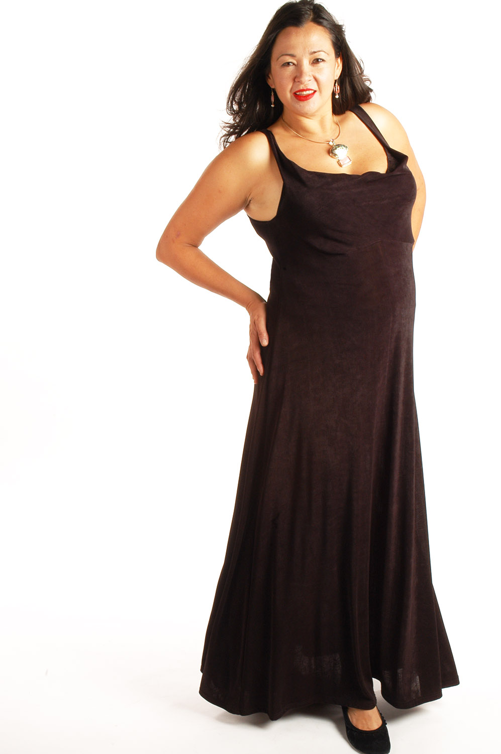Plus Size Empire Evening Gown Sleeveless Black Slinky Sizes 14 - 24