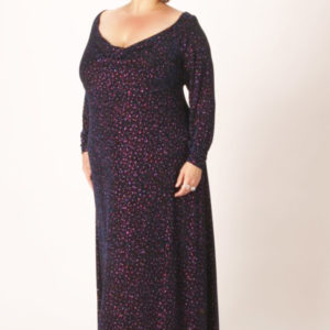 Plus Size Empire Evening Gown Navy Cerise Sparkles Slinky Sizes 14 – 24