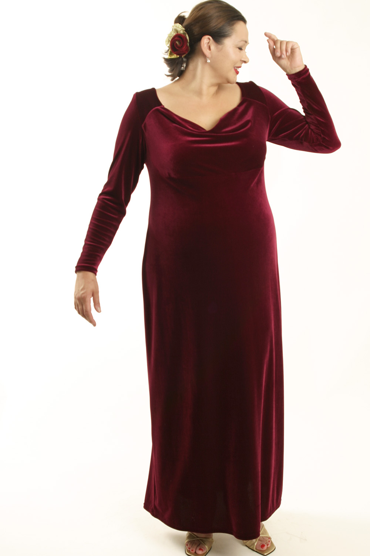 Plus Size Empire Evening Gown Burgundy Velvet Sizes 14 - 24