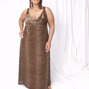 Plus Size Empire Gown Sleeveless Leopard Stretch Velvet Gold Brown 14-24