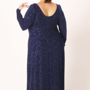 Plus Size Empire Evening Gown Navy with Spiral Sparkles Sizes 14 – 24