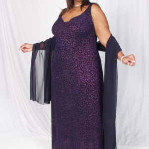Plus Size Empire Evening Gown Sleeveless Navy Cerise Sparkles 14 – 24