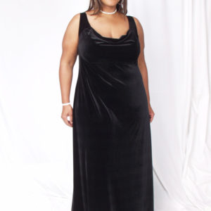 Plus Size Empire Evening Gown Black Lycra Velvet Sizes 14 – 24