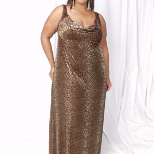 Plus Size Empire Evening Gown Golden Leopard Sizes 14 – 24
