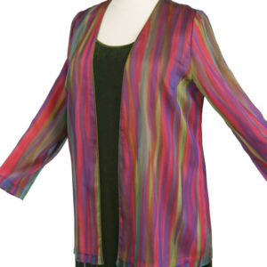 Plus Size Dressy Jacket Rainbow Stripes Silk Rose Purple Gold 14-36