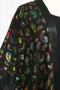 Plus Size Formal Kimono Jacket French Fleur Silk Brights Black 18/20