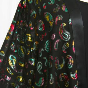 Plus Size Formal Kimono Jacket French Fleur Silk Brights Black 18/20