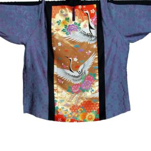 Plus Size Jacket Japan Silk Embroidery Cranes Gold Purple Orange 30/32