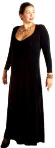 Plus Size Juliet Dress Evening Long Sleeves Black Slinky Sizes 14 - 36