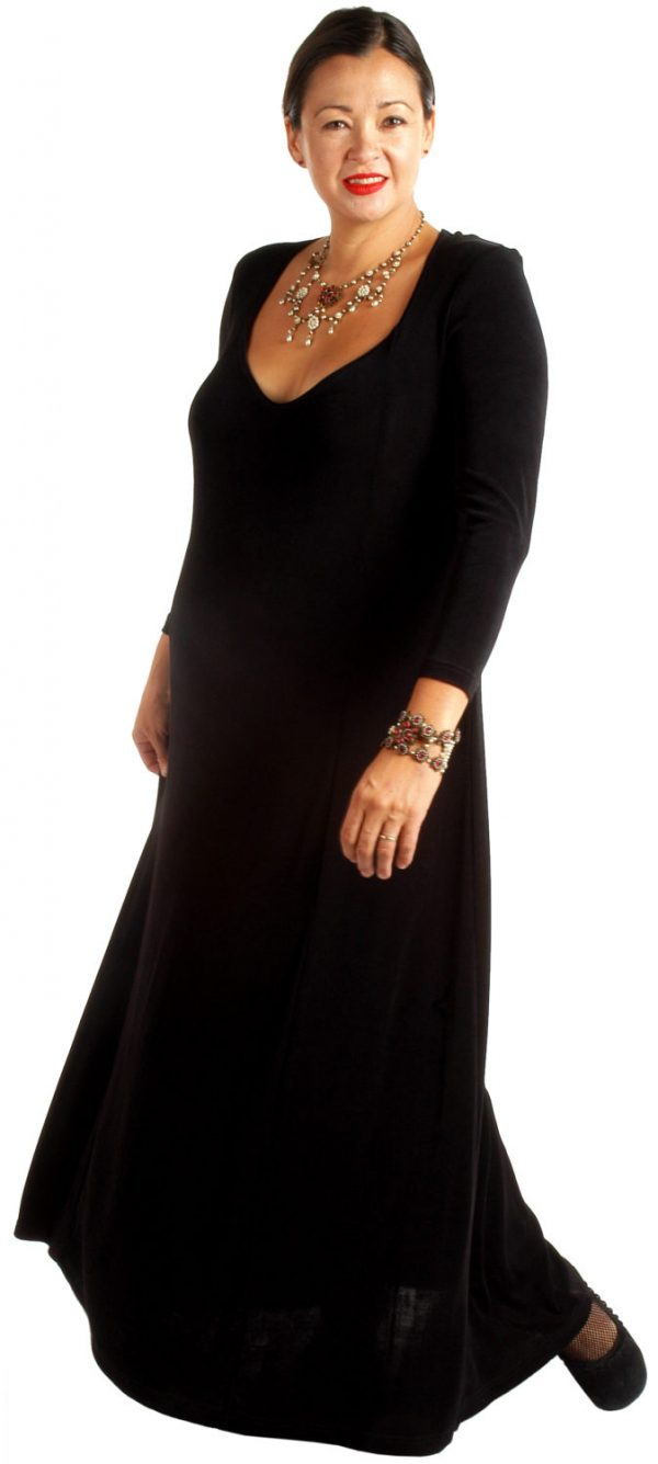 Plus Size Juliet Dress Evening Long Sleeves Black Slinky Sizes 14 – 36