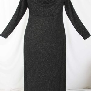 Plus Size Empire Evening Gown Long Sleeves Black Sparkle Slinky 14 – 24