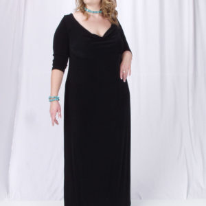 Plus Size Empire Evening Gown Long Sleeves Black Slinky Sizes 14 – 24