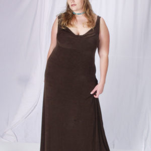 Plus Size Empire Evening Gown Sleeveless Brown Slinky Sizes 14 – 24