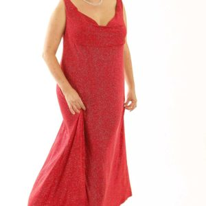 Plus Size Empire Evening Gown Sleeveless Red Sparkle Slinky Sizes 14 – 24
