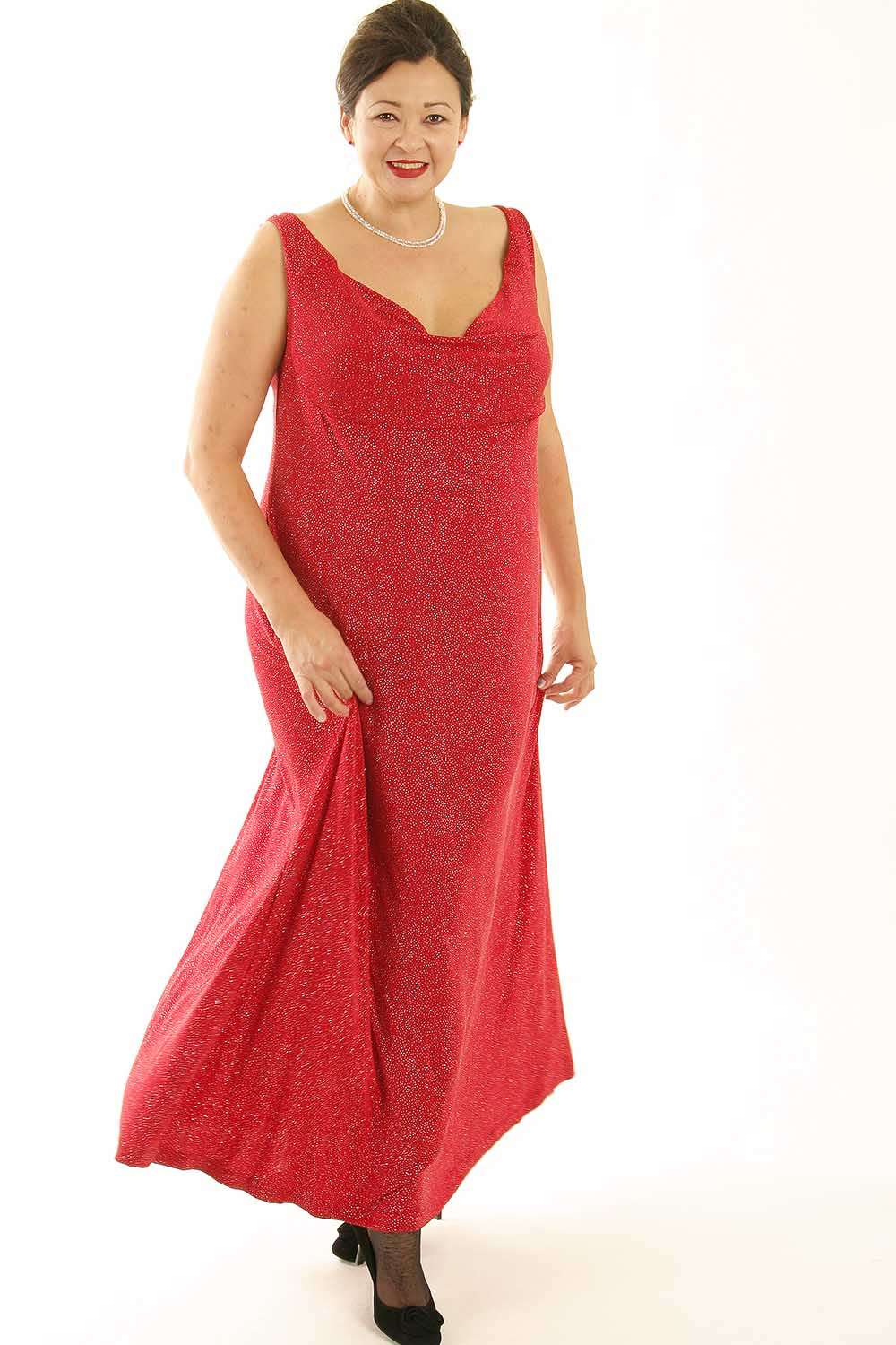 Plus Size Empire Evening Gown Sleeveless Red Sparkle Slinky Sizes 14 - 24