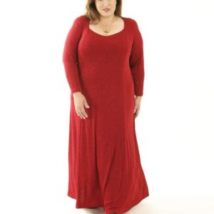 Plus Size Juliet Dress Evening Long Sleeves Red Sparkle Slinky Sizes 14 – 36