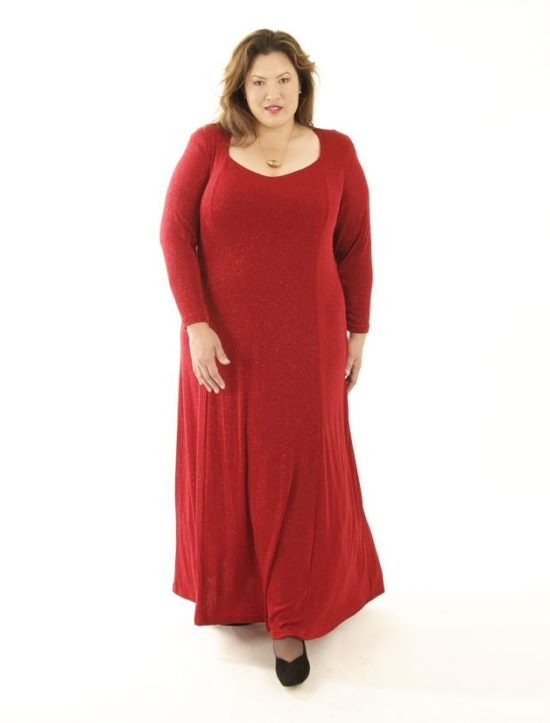 Plus Size Juliet Dress Evening Long Sleeves Red Sparkle Slinky 14 - 36