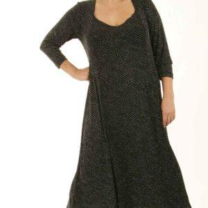 Plus Size Juliet Cocktail Dress 3/4 Sleeves Black Silver Sparkle Slinky Sizes 14 – 36
