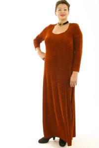 Plus Size Juliet Dress Evening Long Sleeves Copper Slinky 14 - 36