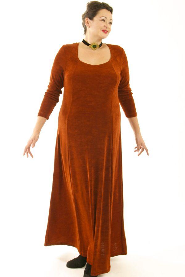 Plus Size Juliet Dress Evening Long Sleeves Copper Slinky 14 – 36