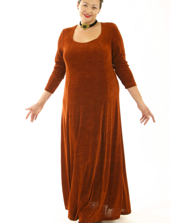 Plus Size Juliet Dress Evening Long Sleeves Copper Slinky 14 - 36