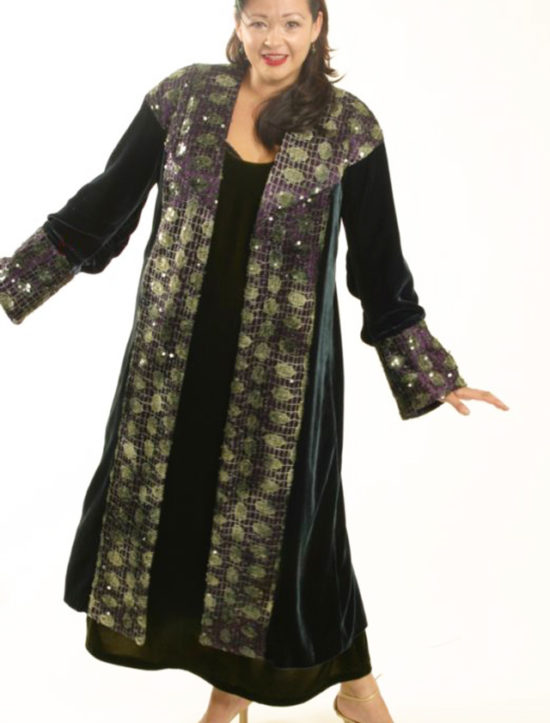 Plus Size Special Occasion Coat Silk Velvet Sequins Green Purple 14/16