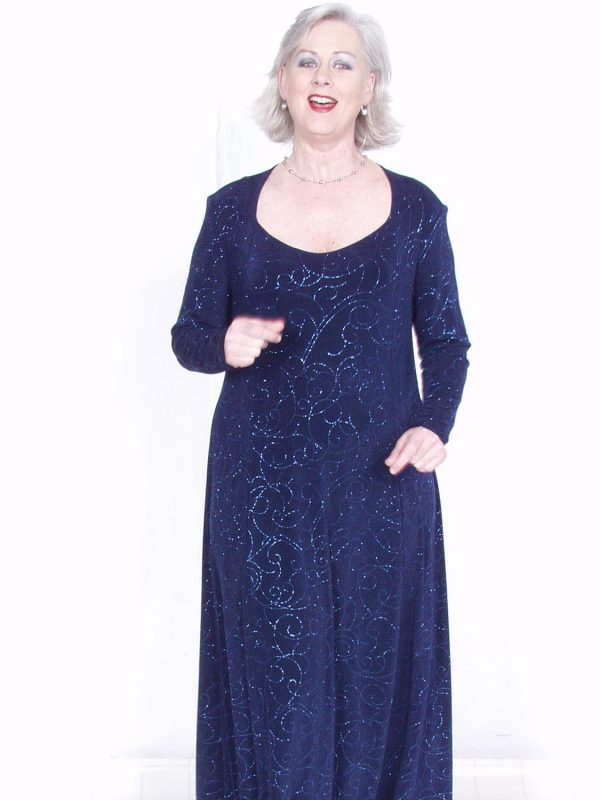 Plus Size Juliet Dress Evening Long Sleeves Navy Sparkle Slinky Sizes 14 – 36