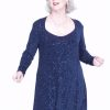 Plus Size Juliet Dress Evening Long Sleeves Navy Sparkle Slinky Sizes 14 - 36