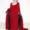 Plus Size Juliet Dress Evening Long Sleeves Red Sparkle Slinky 14 - 36
