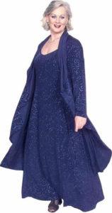 Plus Size Juliet Dress Evening Long Sleeves Navy Sparkle Slinky Sizes 14 - 36