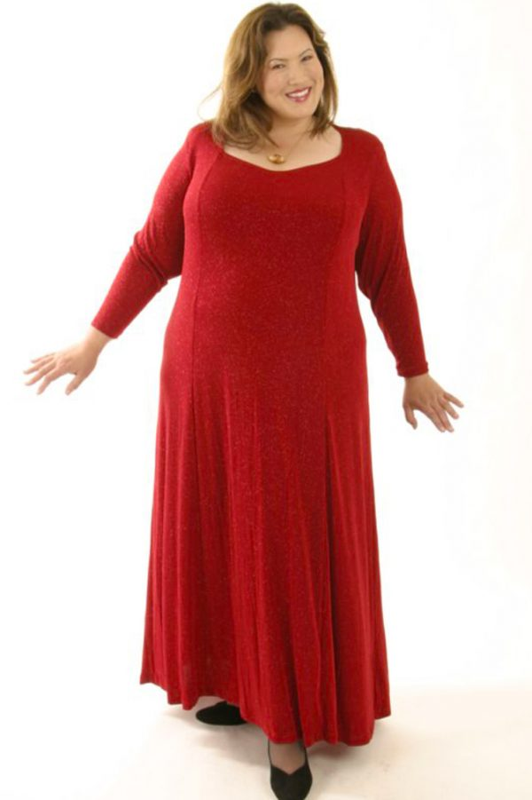 Plus Size Juliet Dress Evening Long Sleeves Red Sparkle Slinky 14 – 36