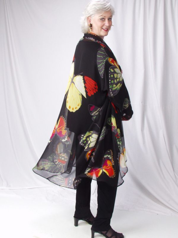 Plus Size Dressy Drape Coat Silk Georgette Butterflies Red Yellow Black 14 – 28