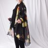 Plus Size Dressy Drape Coat Silk Georgette Butterflies Red Yellow Black 14 - 28
